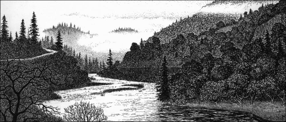 Drawn river pen and ink Pen Russian of scenes DiZerega