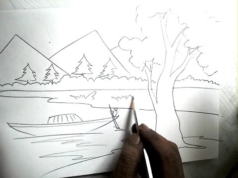 Drawn river pencil drawing How Boat Drawing Scenery How