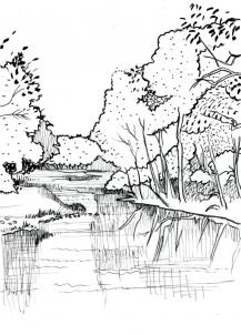 Drawn river pencil drawing How river  realistic Draw
