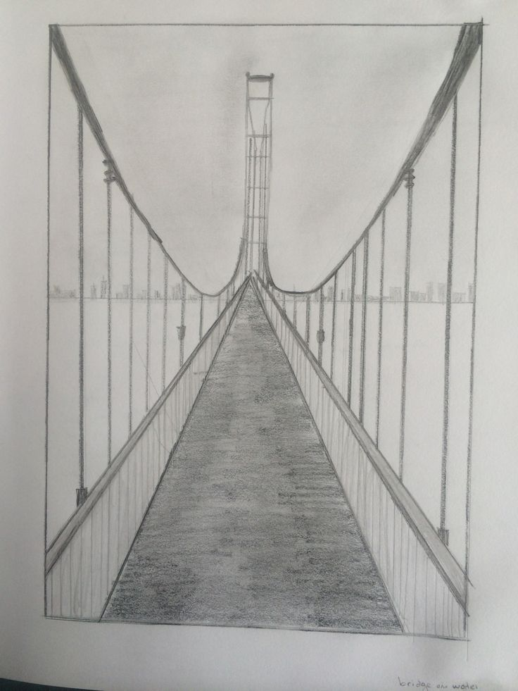 Drawn road one point 25+ drawing painting Best bridge