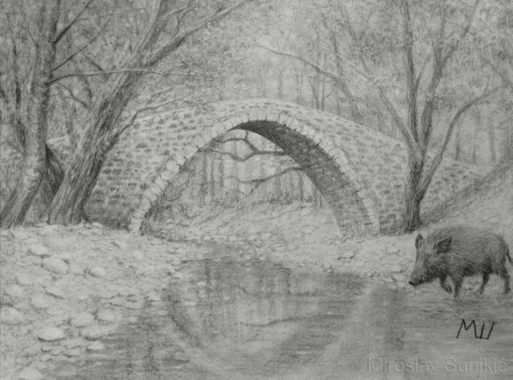 Drawn river realistic A Best of painting Bridge
