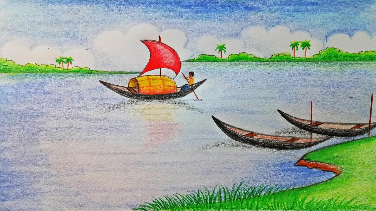 Drawn river river scenery Scenery Step scenery draw by