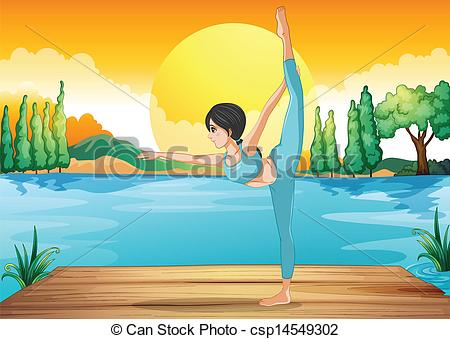 Drawn river river scenery Of performing yoga performing yoga