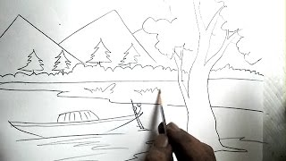 Drawn river river scenery Draw To Pencil A Boat