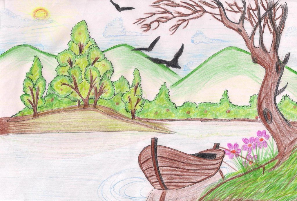 Drawn river river scenery SheenMagic by DeviantArt River by