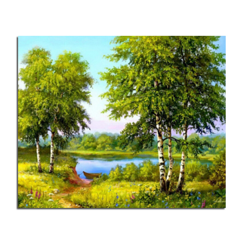 Drawn river river scenery Drawing Buy DIY 60x50 Wholesale