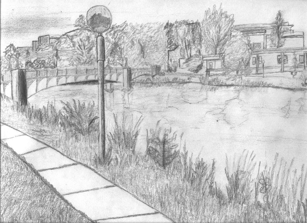 Drawn river river scenery By scan NemoNameless NemoNameless Drawing