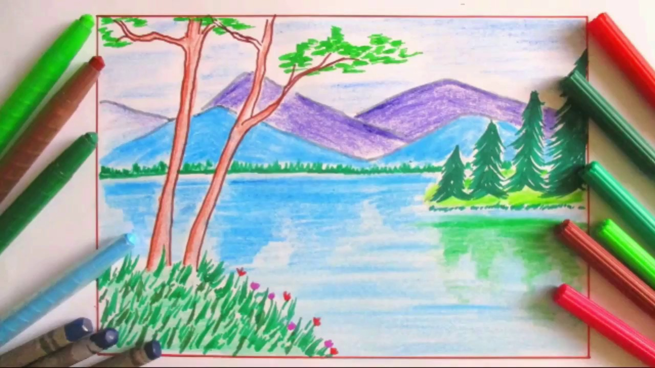 Drawn river river scenery Landscape and landscape draw river