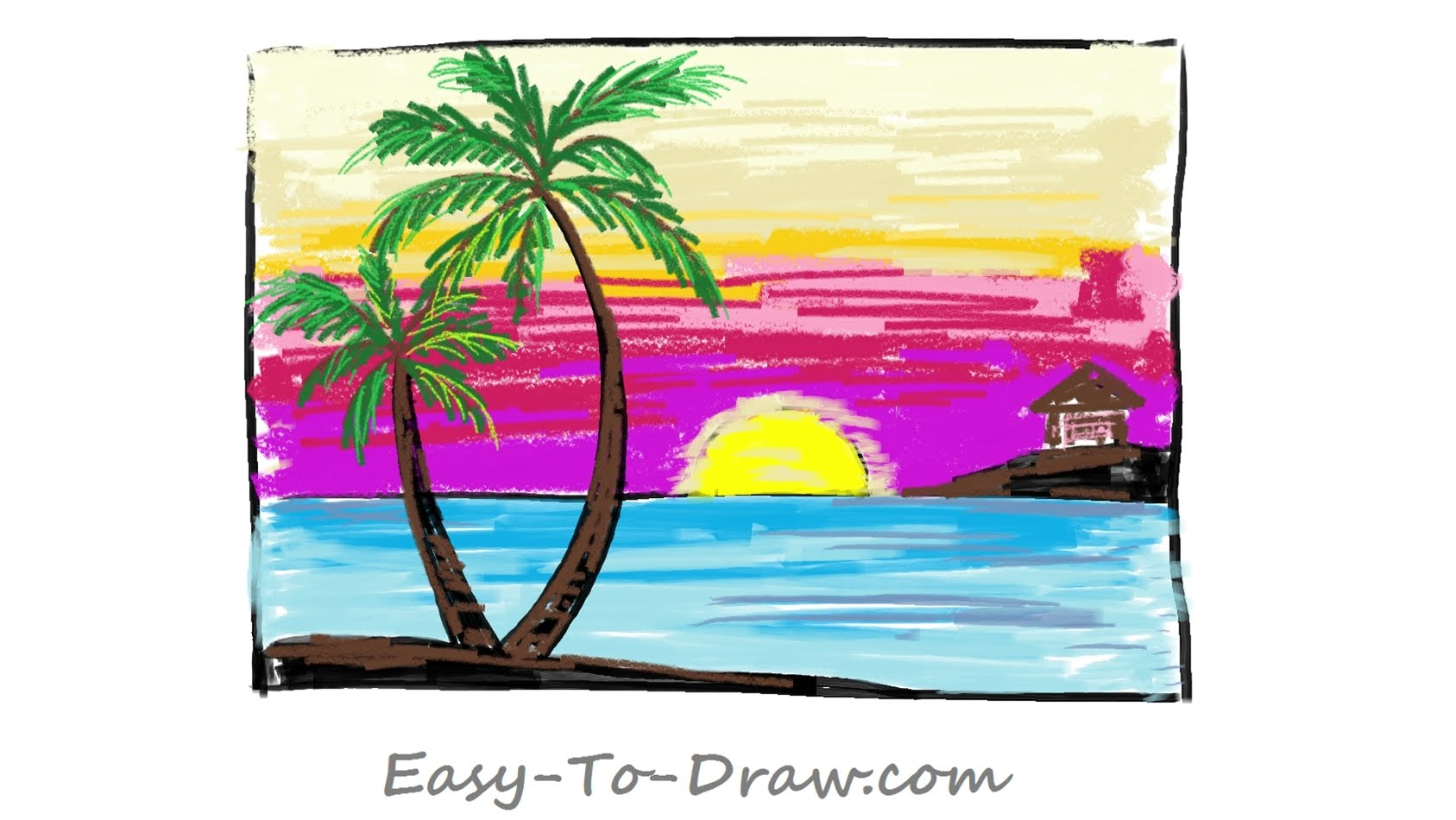 Drawn scenery rising sun Cartoon step with for a