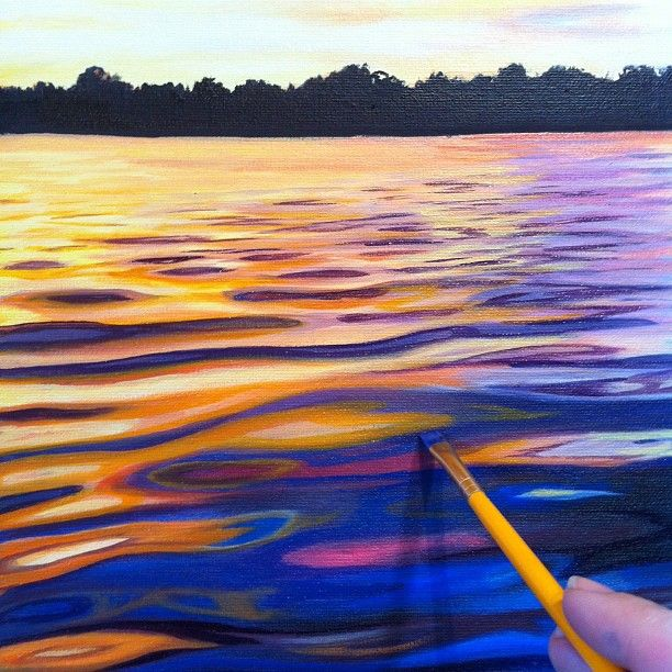 Drawn river sunset Paint water Drawing sunset on