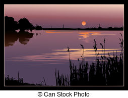 Drawn river sunset Stock Art river the and