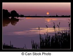 Drawn river sunset On sunset Stock Art 405