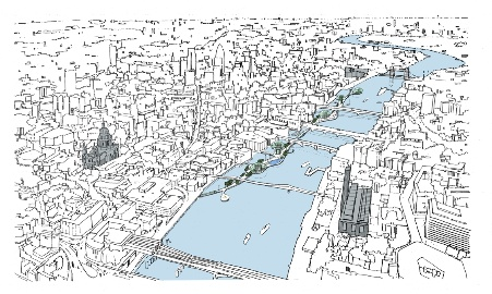 Drawn river thames river Gensler's and slam river Thames
