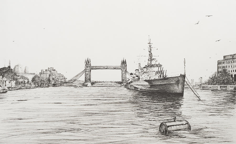Drawn river thames river By The Alexander Thames by