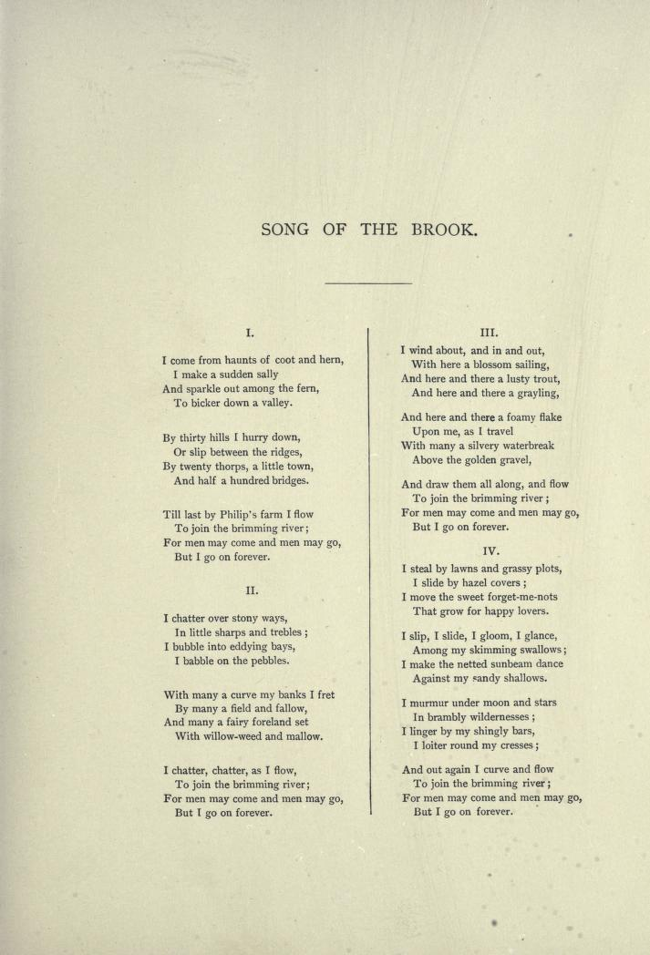 Drawn river the brook Song the of Tennyson literature