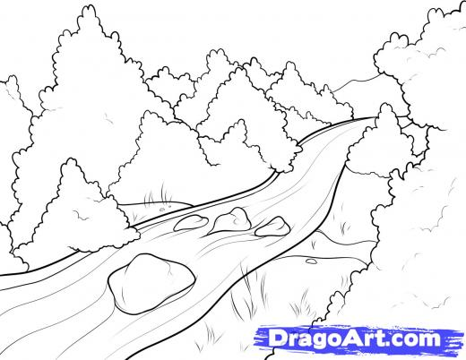 Drawn river water stream Drawing river Drawing  line