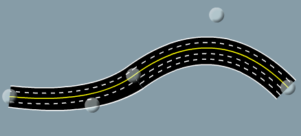 Drawn road Using Road Bezier Blobs curves