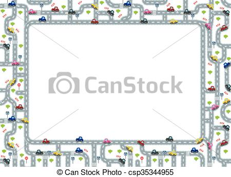 Drawn road border clip art Clipart and roads with cars