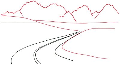 Drawn road curved 2: Draw the mountains shapes