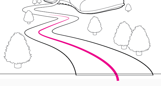 Drawn road curved shape Illustration it Give to Vector