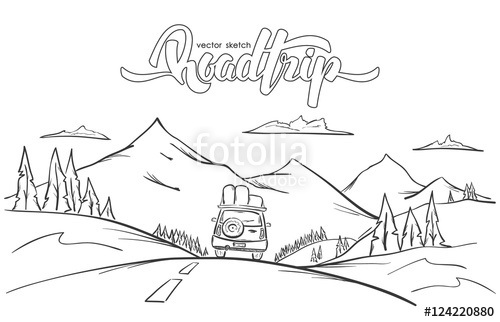 Drawn road road trip Mountains drawn with illustration: Hand
