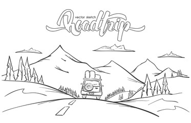 Drawn road road trip Mountains deniskrivoy illustration: Hand by