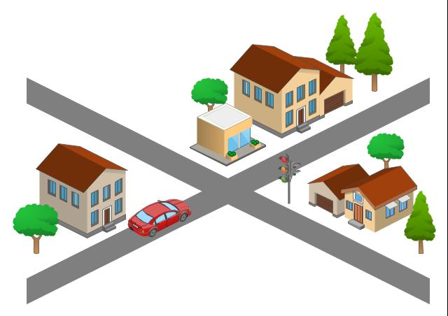 Drawn roadway cartoon 3D light template lights Maps