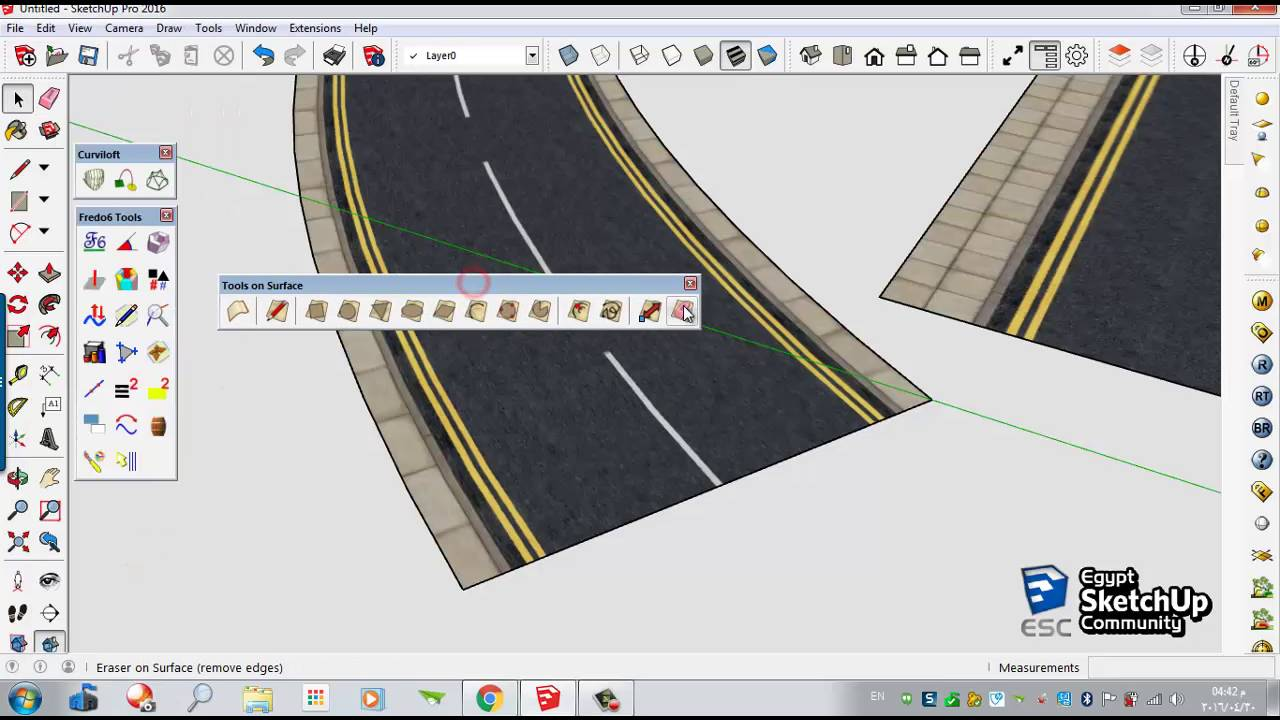 Drawn road curved shape  YouTube SketchUp road Curved