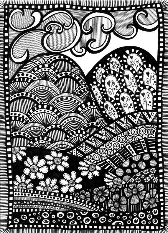 Drawn roadway doodle Rich hills A A patchwork
