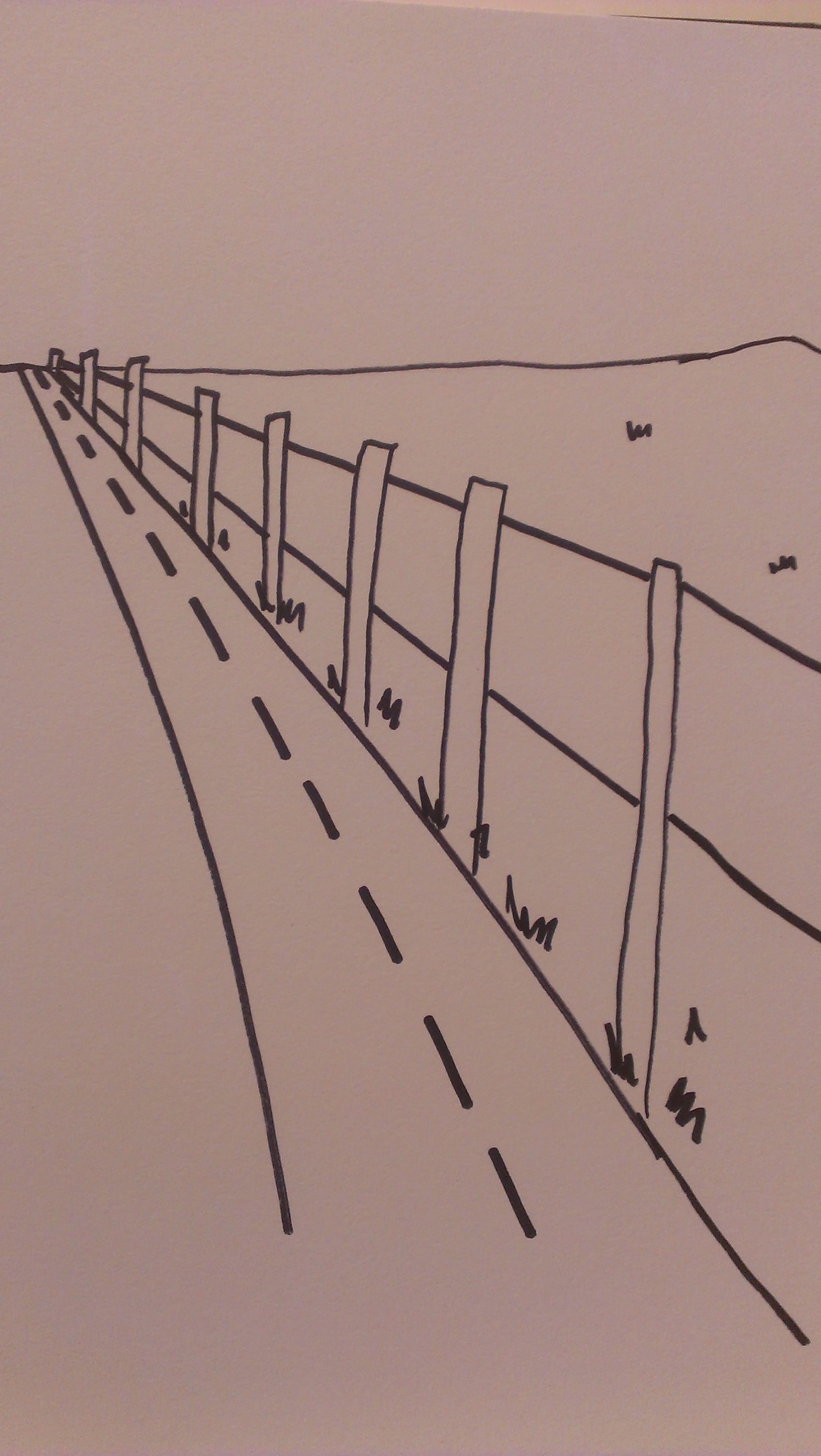 Drawn roadway perspective drawing In School Space perspective Beginner's