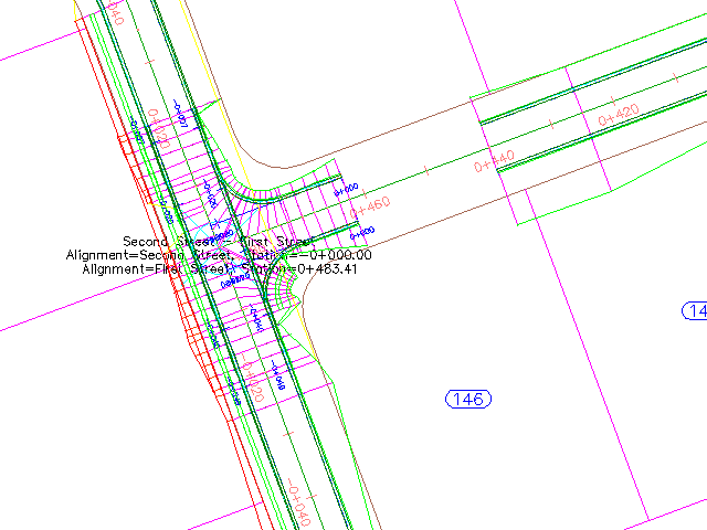 Drawn roadway road intersection AutoCAD 3D Road Creating Civil