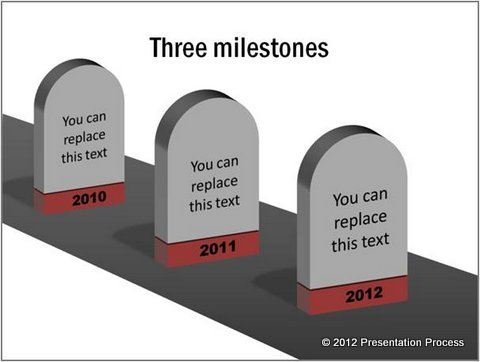 Drawn road road milestone PowerPoint Roadmap in 3D with