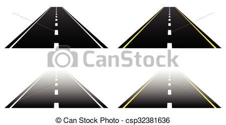 Asphalt clipart black and white Vanishing asphalt two white Straight