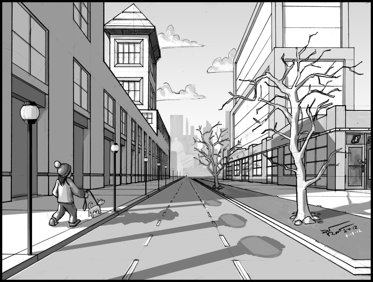 Drawn road one point One point Perspective ideas 25+