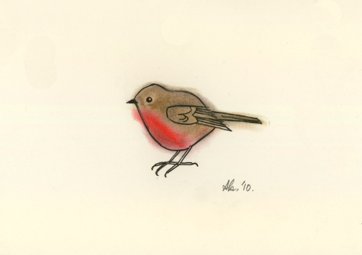 Drawn robin Pastel Little Robins pastel Original
