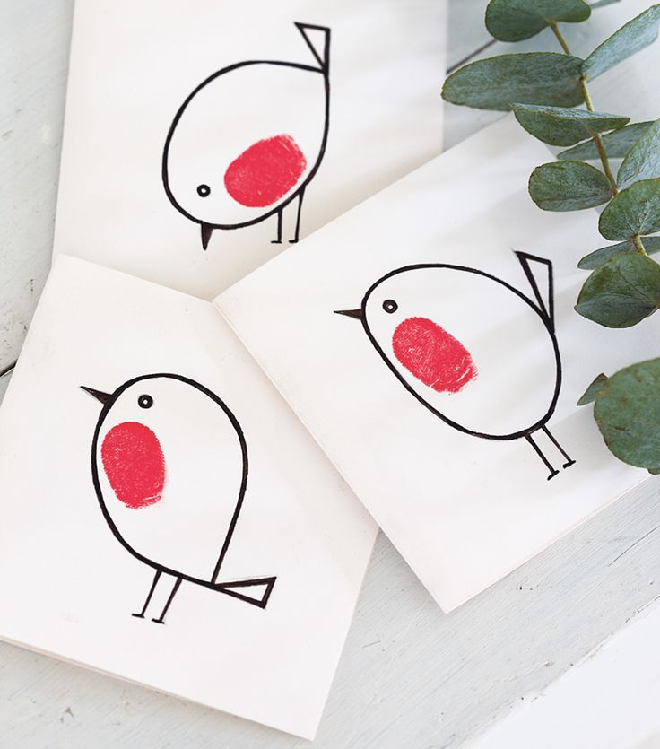 Drawn robin christmas card Red cards Pinterest breast robin