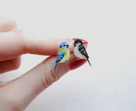 Drawn robin cute Blue blue earrings tit Earrings