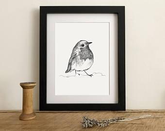 Drawn robin garden Giclee Red Robin Print from