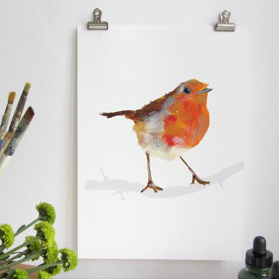Drawn robin garden Birds Print Red Print Garden