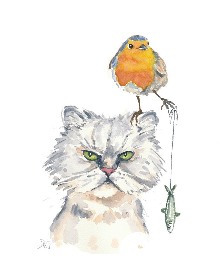 Drawn robin kitten 2494 Watercolor WaterInMyPaint Etsy The