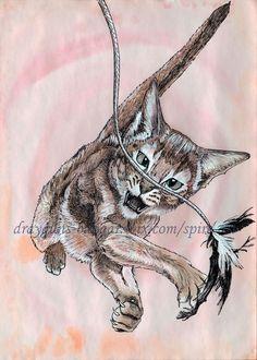 Drawn robin kitten SMcNeill animal #kitten drawing illustration