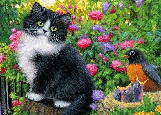 Drawn robin kitten Painting cat garden original aceo