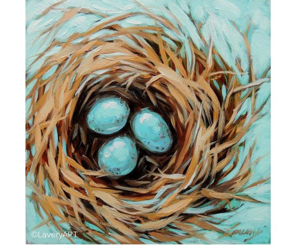 Drawn robin nest Robin's and Robin's Birds Painting
