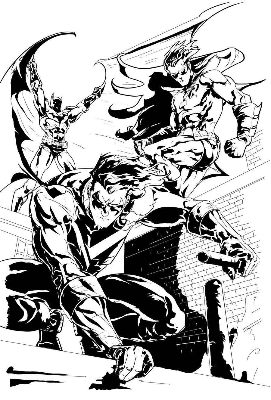 Drawn robin nightwing Robin and Batman and by