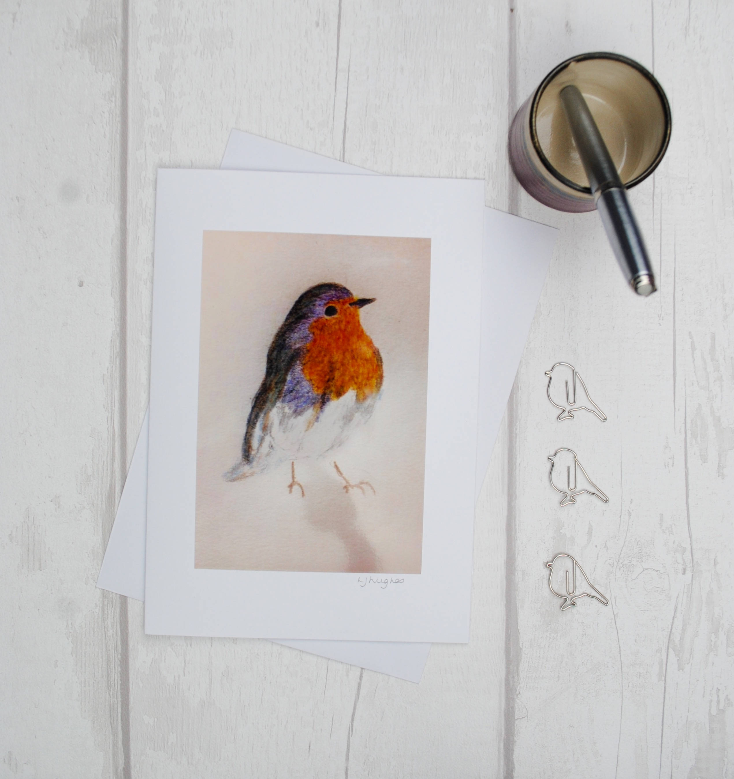 Drawn robin pencil Print Day Art Bird Modern