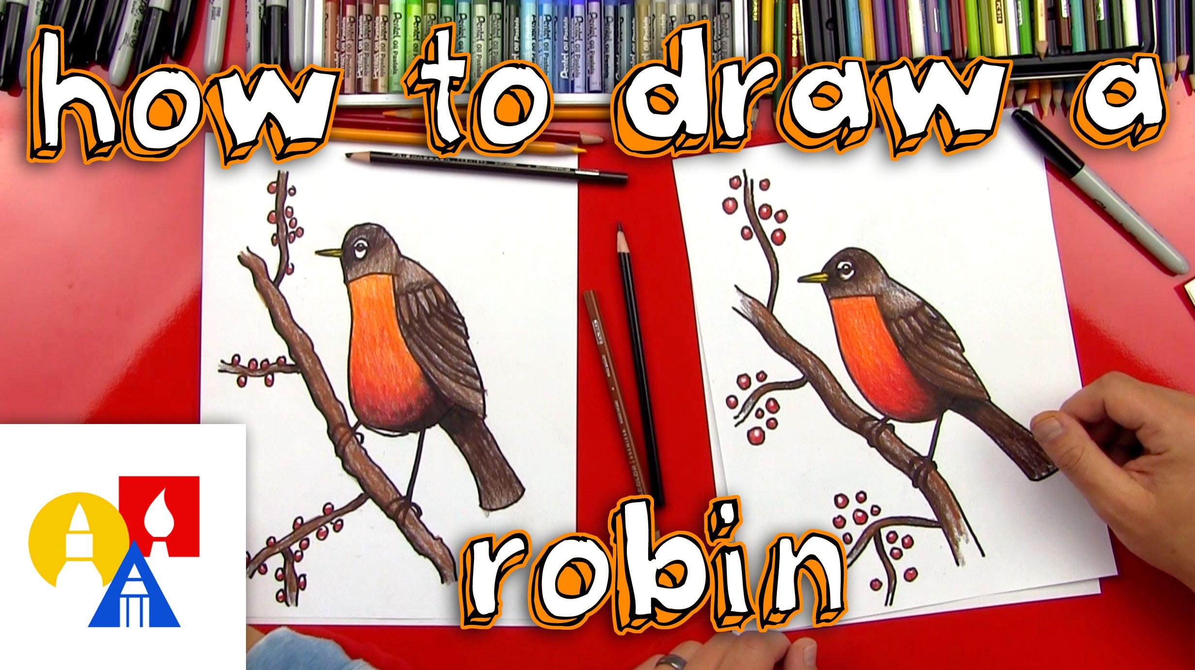 Drawn robin realistic (realistic) Draw To YouTube Bird