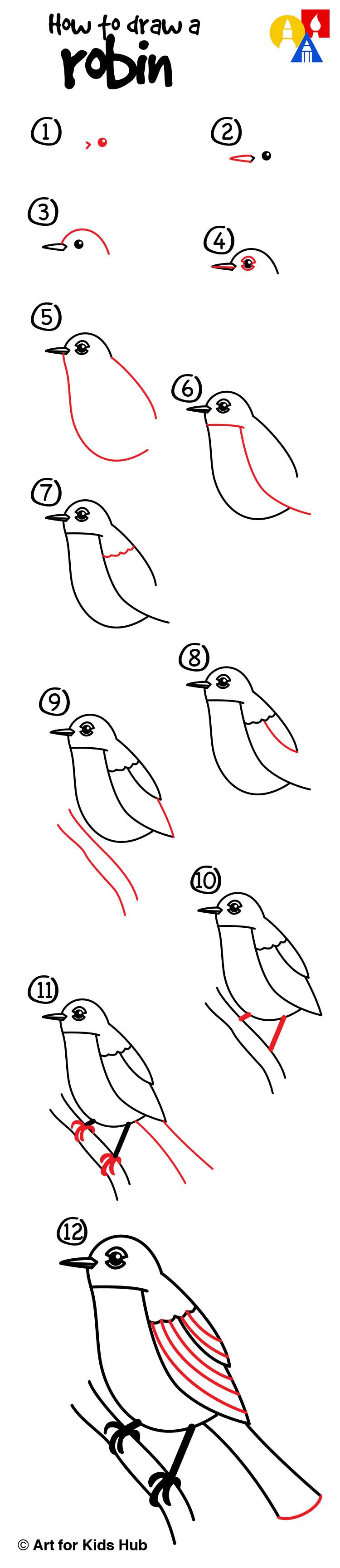 Drawn robin realistic Art A Bird Kids Kids