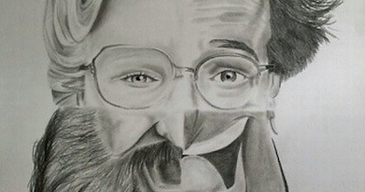 Drawn robin robin williams tribute Of of four Williams face