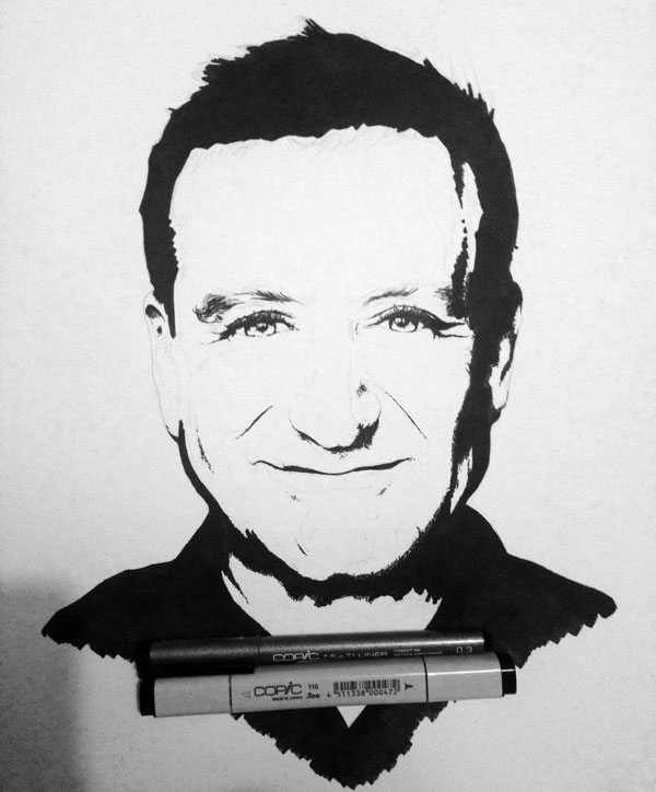 Drawn robin robin williams tribute Williams Robin Williams Through Black