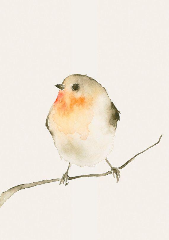 Drawn robin simple Ideas Original Bird Print from
